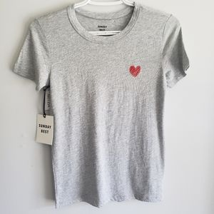 Aritzia Sunday Best Candy Heart Embroidered Tshirt